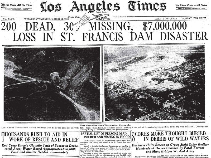 El caso de la presa San Francis en California.